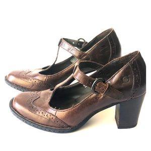 BORN W61997 Polyana Brown t-strap heels